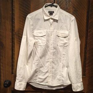 Michael Kors Linen Blend White Button Down Shirt